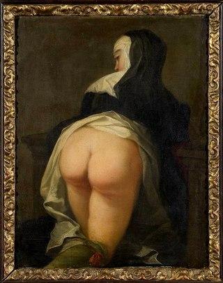 Монашка на колінах. Двобічна картина, Мартин ван Майтенс, 1731р