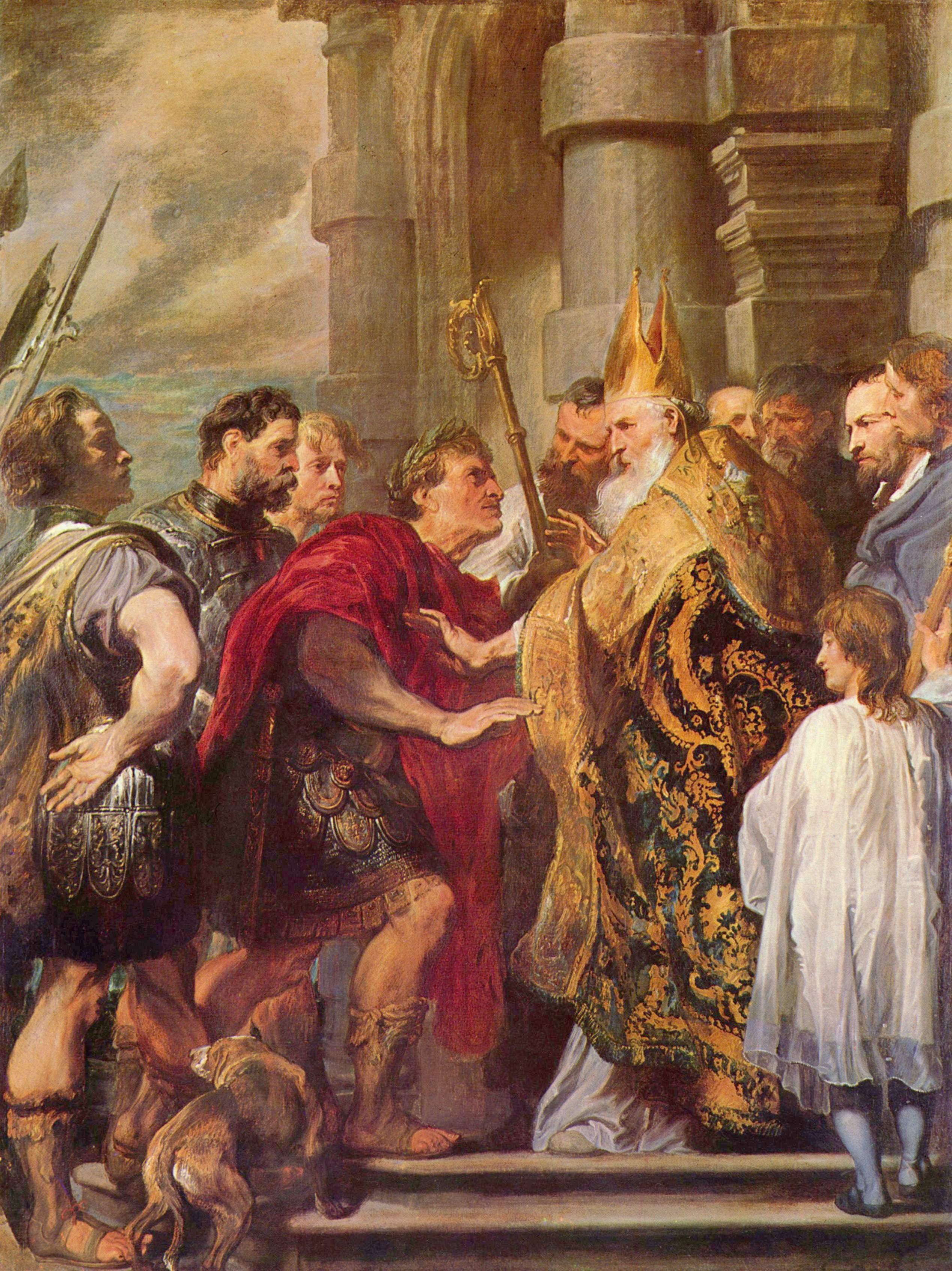 Антонис ван Дейк-Св. Амвросий и император Феодосий