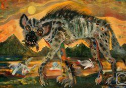Гієна полює на кроликі