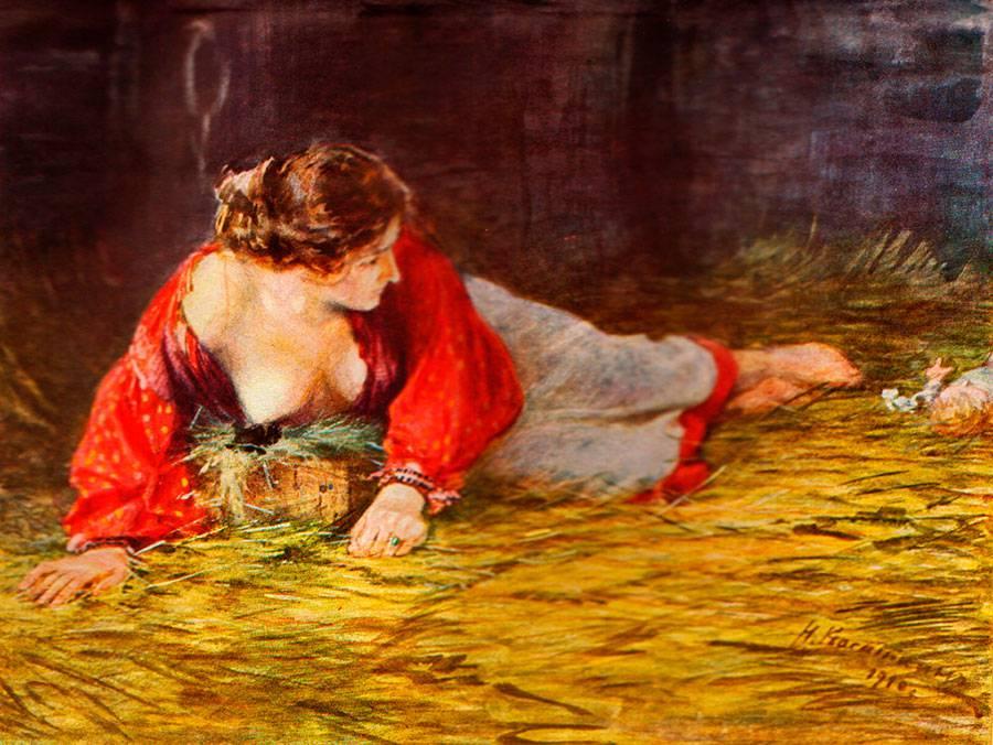 Касаткін Н.А. Кріпачка актриса в опалі у свого пана, що годує грудьми панського цуценя