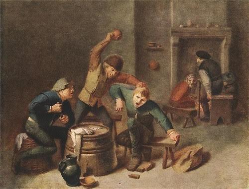 Бійка селян при грі в карти. Адріан Брауер